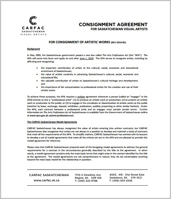 Simple Consignment Agreement Template