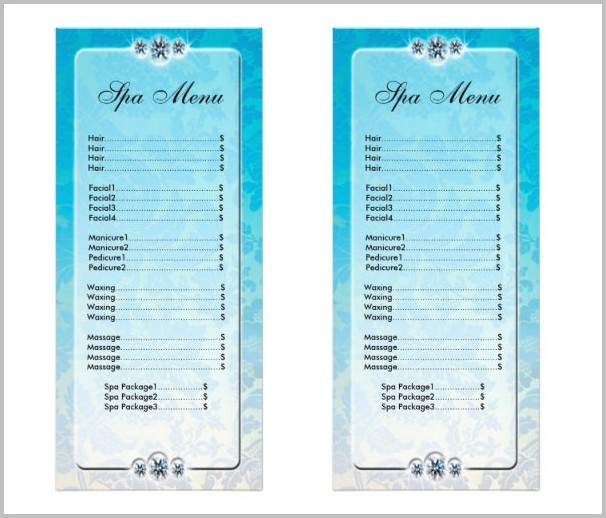 Spa Menu Template Download