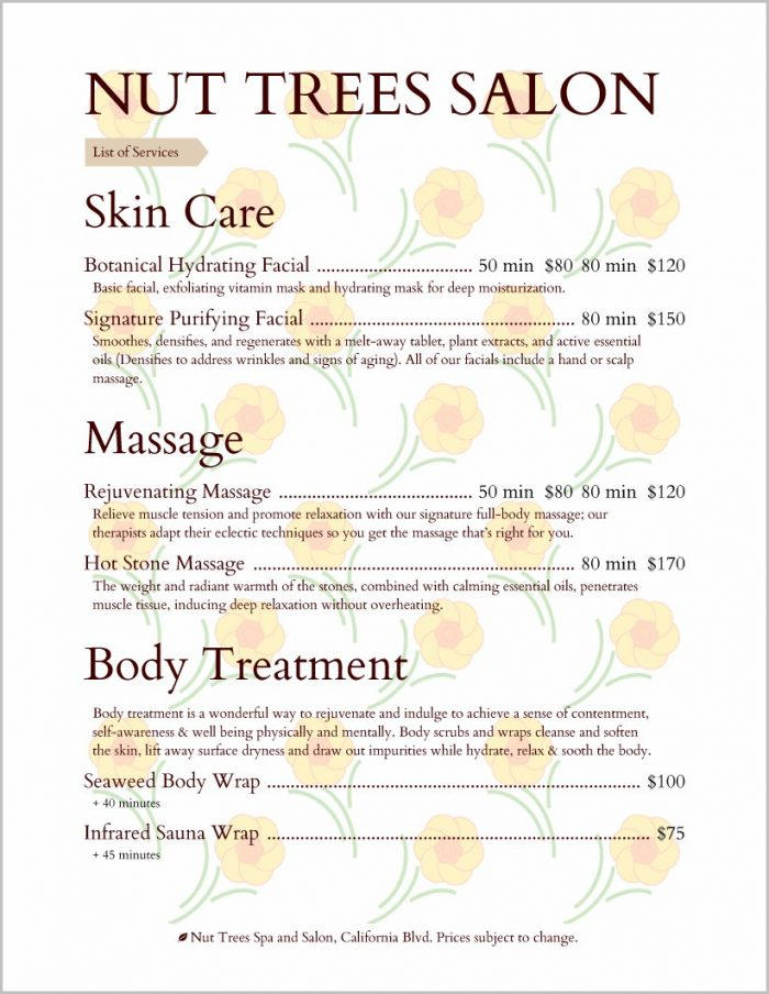 Spa Service Menu Templates Free
