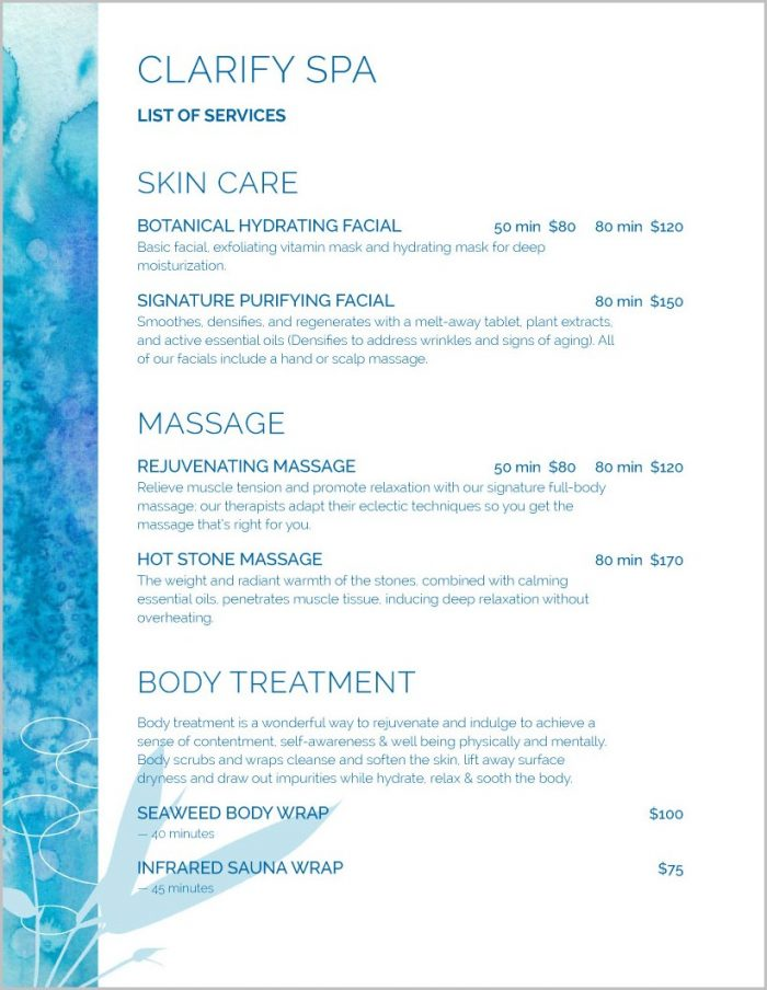 Spa Services Menu Templates