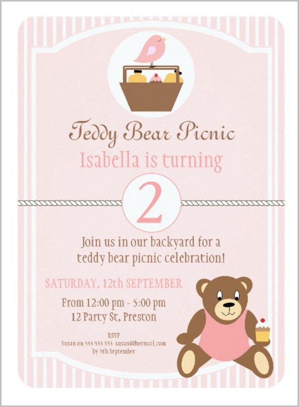 Teddy Bear Picnic Invitation Template Free