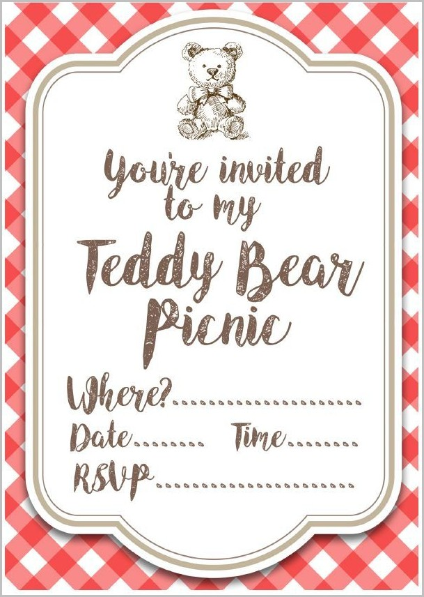 Teddy Bear Picnic Invitation Template