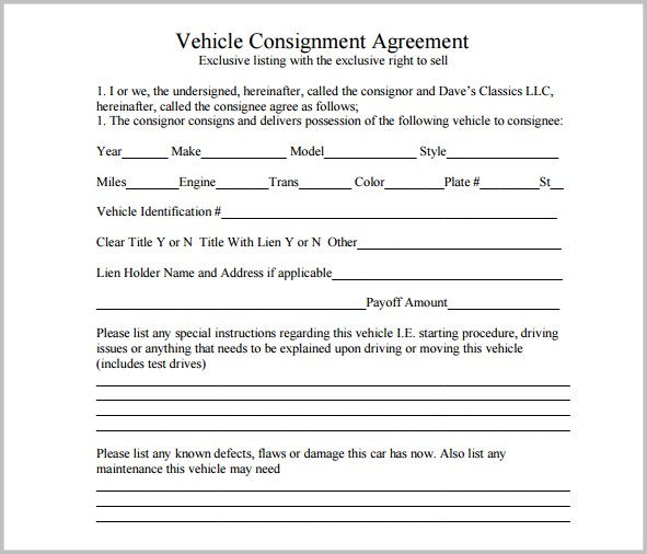 Vehicle Consignment Agreement Template