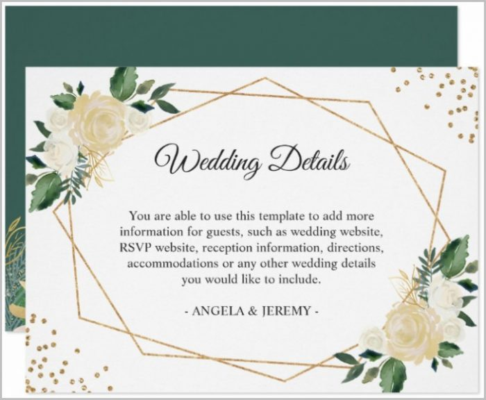 Wedding Reception Card Template