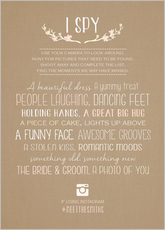 Wedding Reception I Spy Template