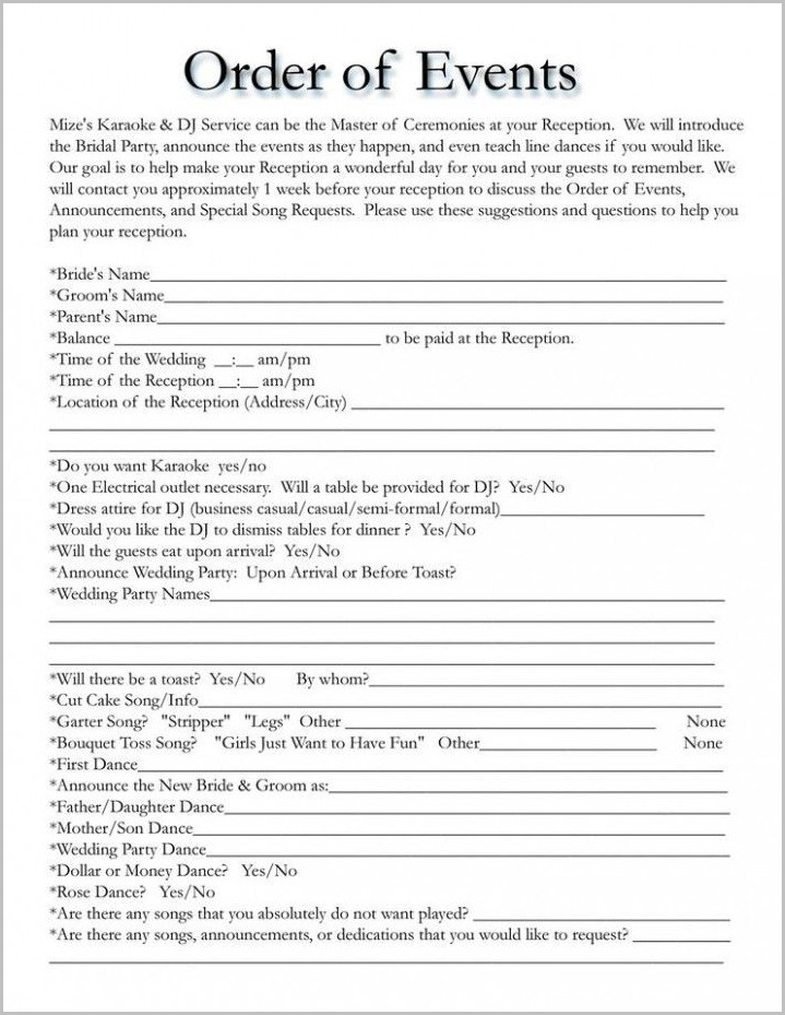 Wedding Reception Order Of Events Template