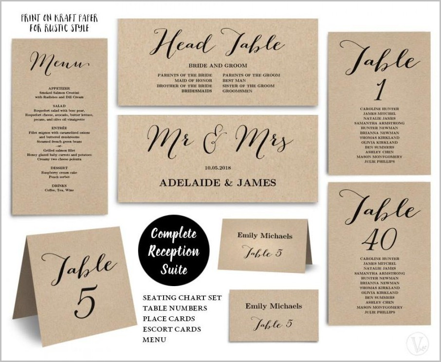 Wedding Reception Table Numbers Templates