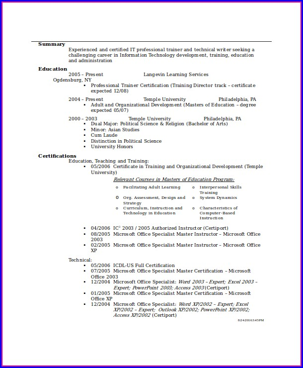 Free Entry Level Resume Templates For Word