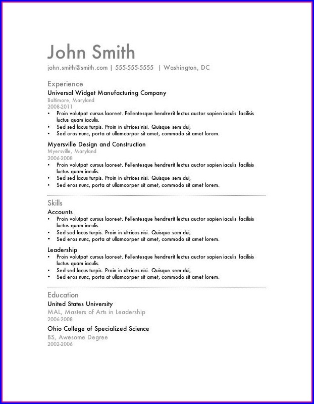 Free Simple Resume Templates For Word