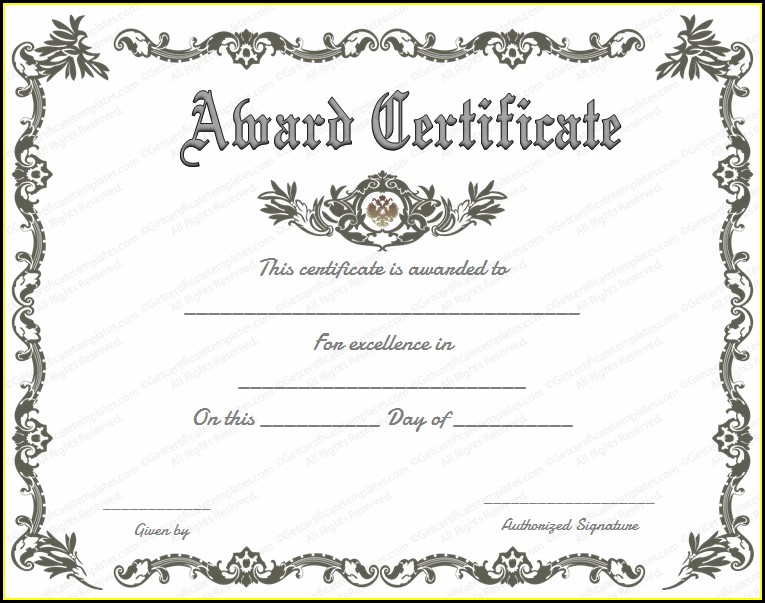 Award Certificate Template For Word
