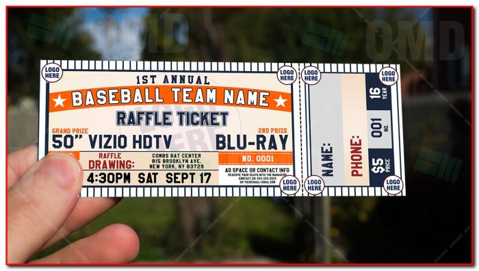 Baseball Raffle Ticket Template