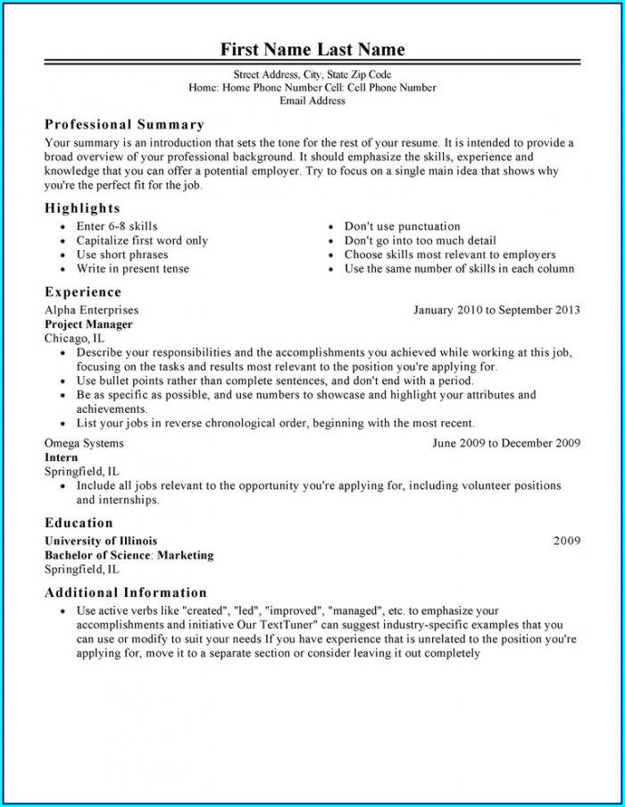Basic Job Resume Template