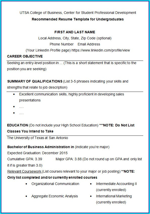 Basic Resume Template For College Students