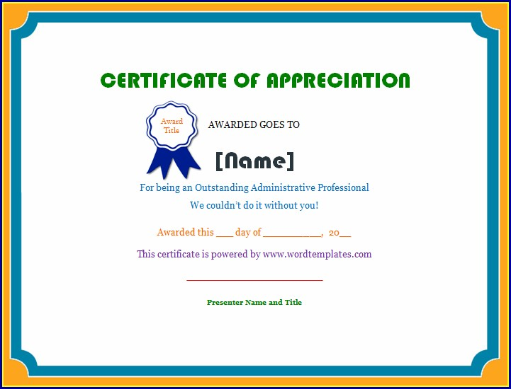 Certificate Of Appreciation For Teachers Example