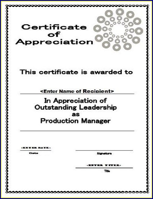 Certificate Of Appreciation Template Editable