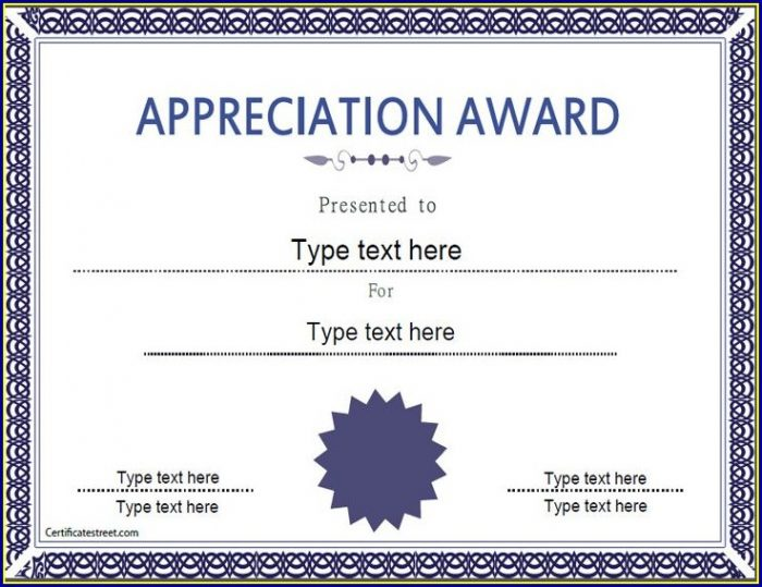 Certificate Of Appreciation Template Powerpoint