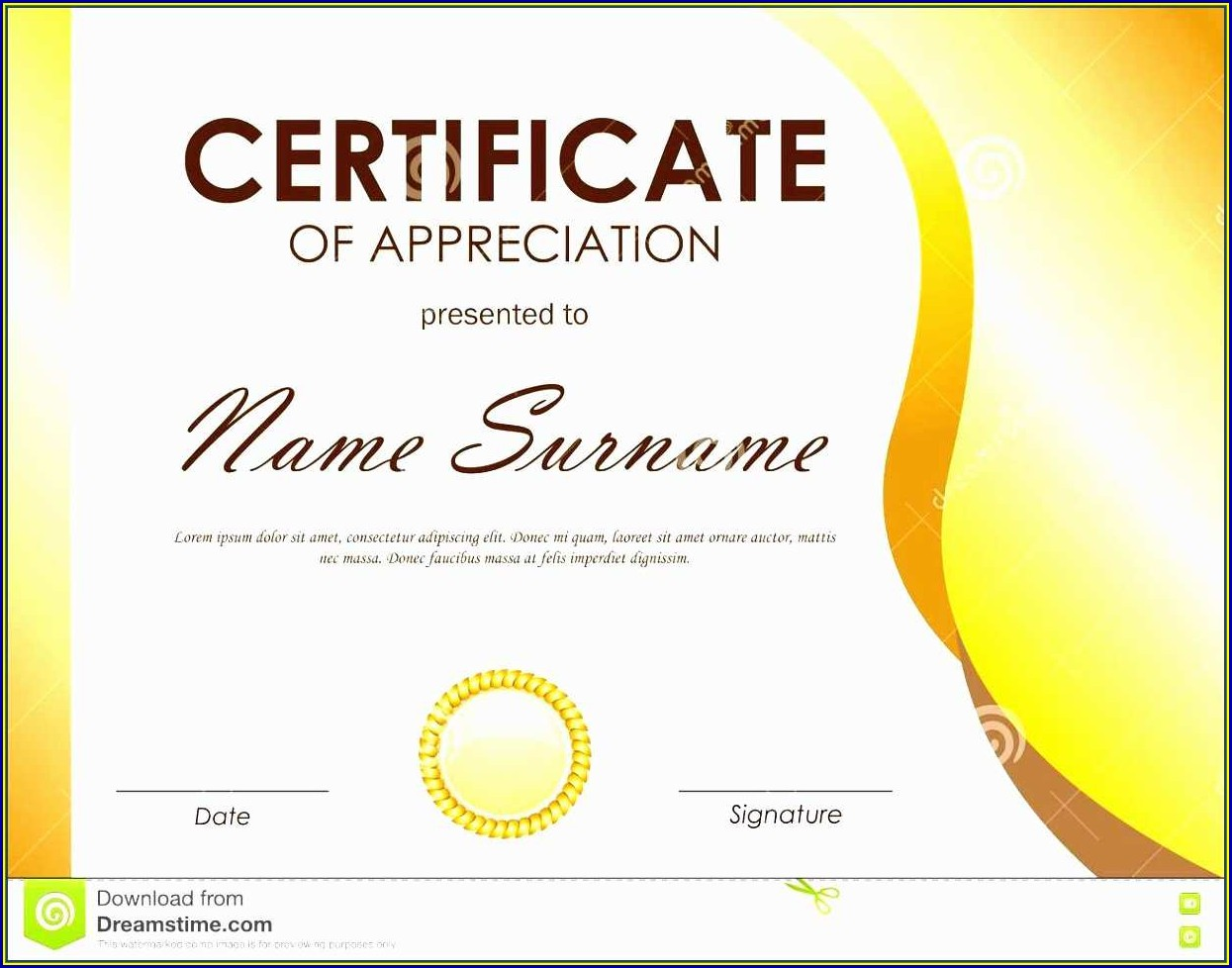 Certificate Of Appreciation Template Ppt