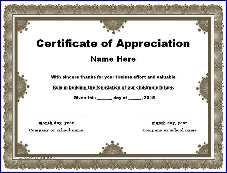 Certificate Of Appreciation Template Word