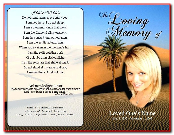 Editable Funeral Program Template Microsoft Word