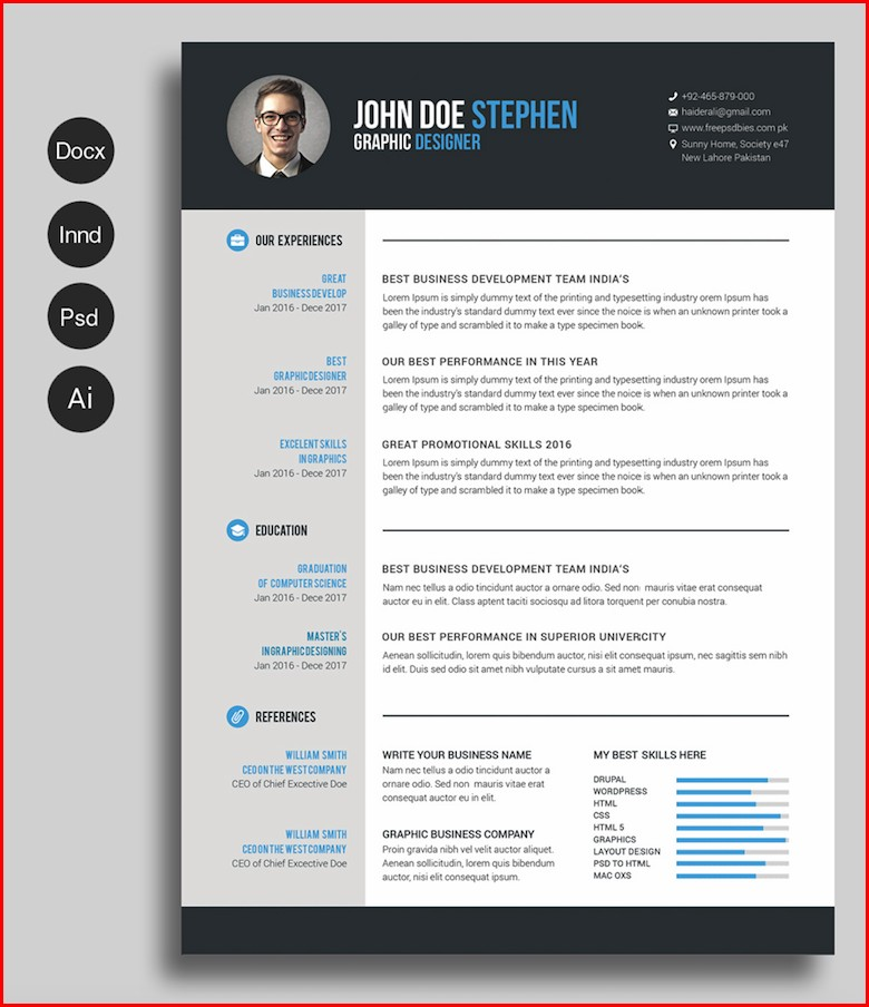 Free Creative Resume Templates 2018