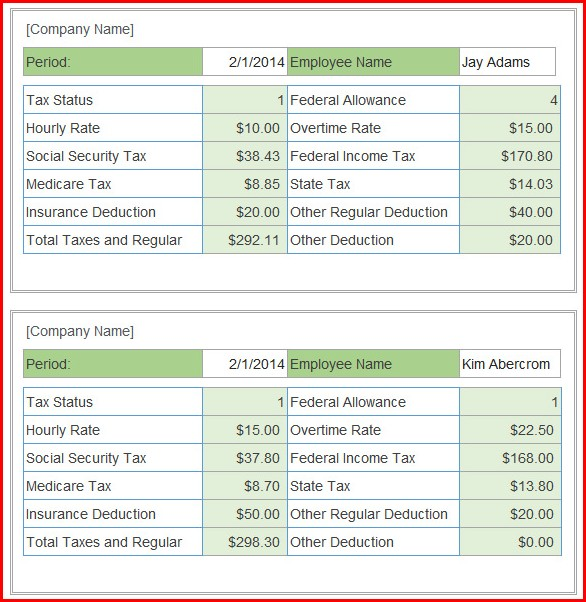 Free Pay Stub Template With Calculator Excel