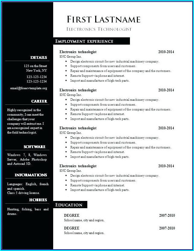 Free Resume Template 2018 Word