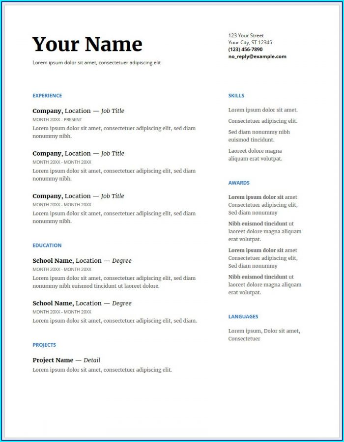 Free Resume Template For Google Docs