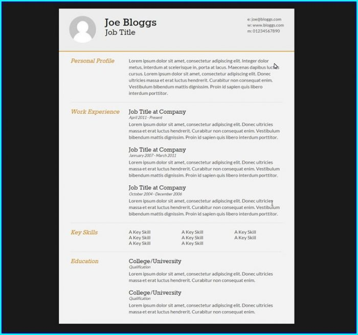 Free Resume Template Html Css