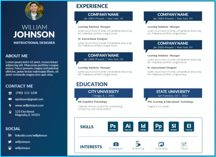 Free Resume Template Powerpoint