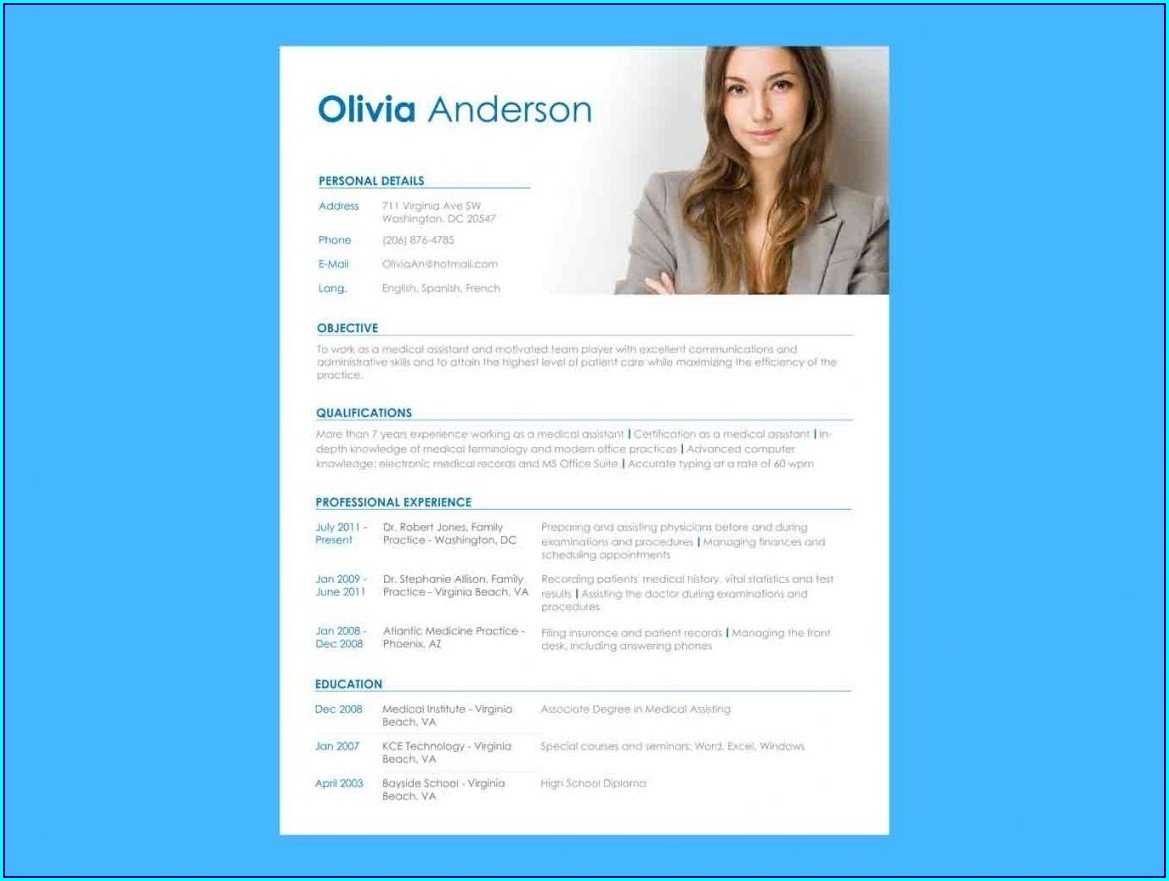 Free Resume Template With Photo Insert