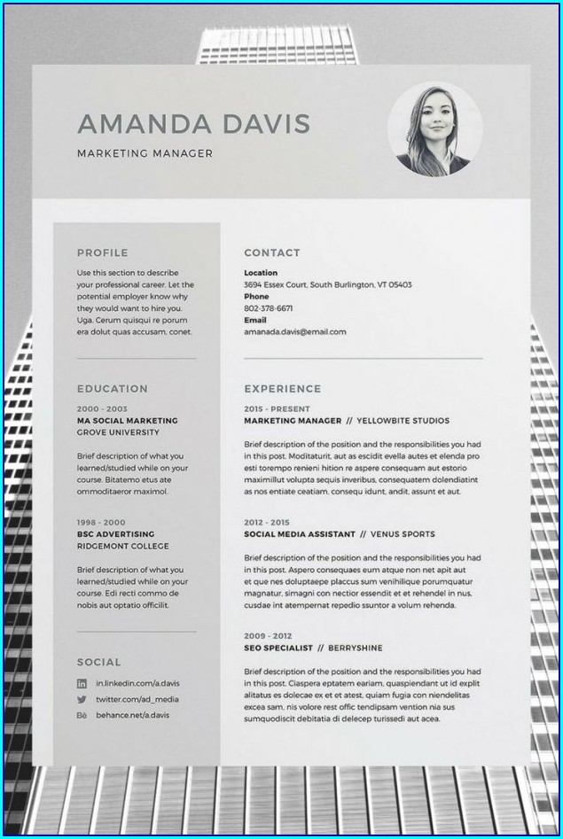 Free Resume Template With Picture Insert