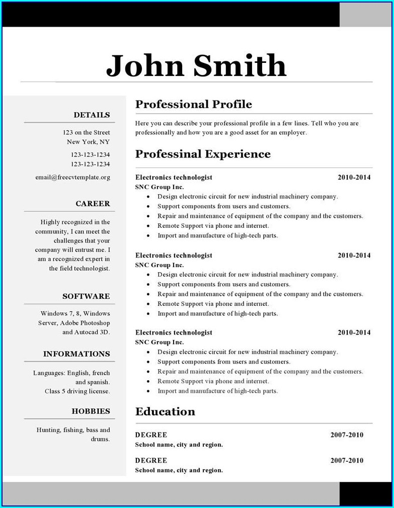 Free Resume Templates Open Office Writer