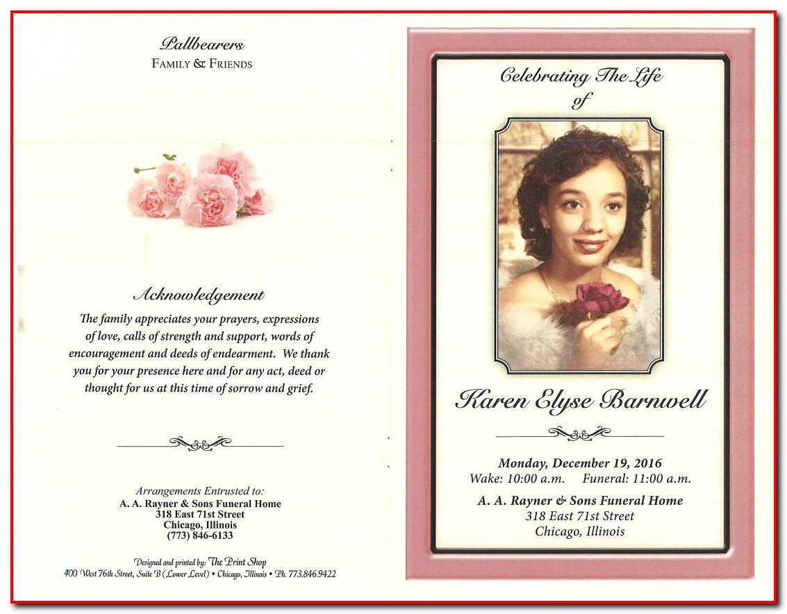 Funeral Program Layout Examples