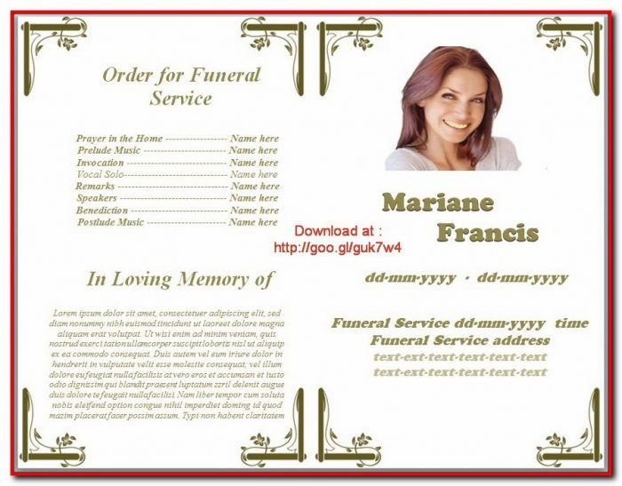 Funeral Program Template Download