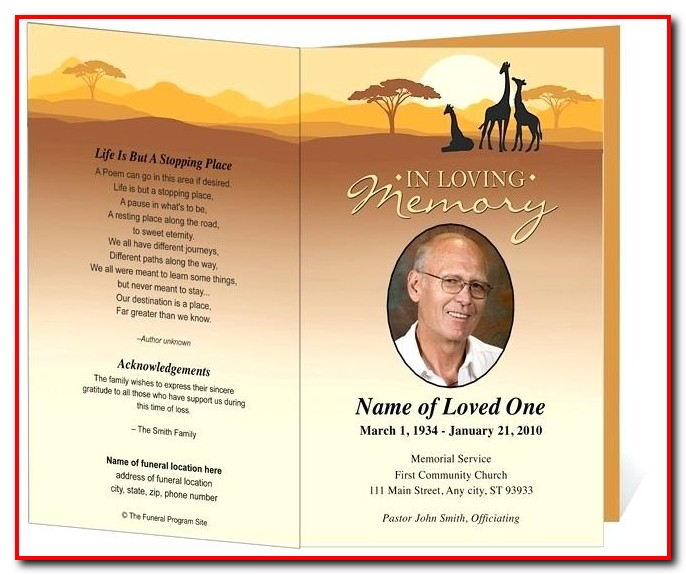 Funeral Program Template For Pages