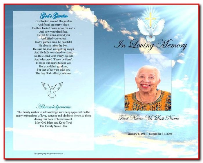 Funeral Program Template Microsoft Publisher