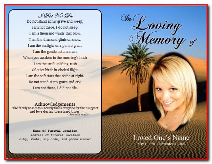 Funeral Program Template Microsoft Word