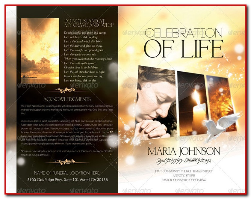 Funeral Program Template Photoshop Free