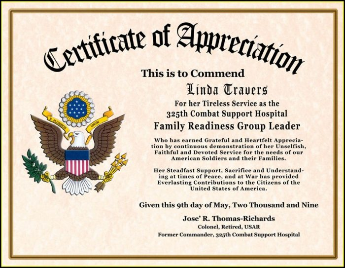 Military Award Certificate Template