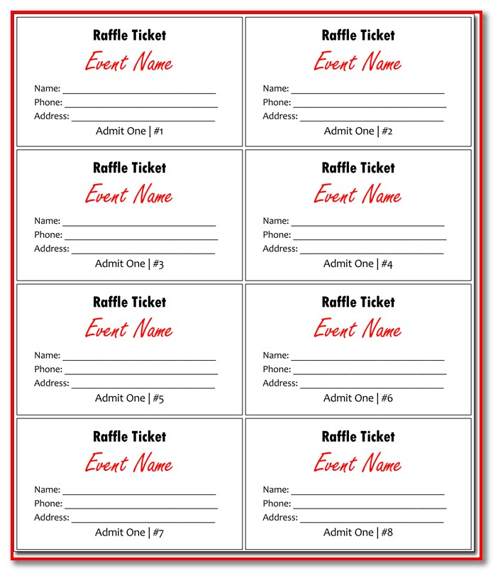 Numbered Raffle Ticket Template Excel
