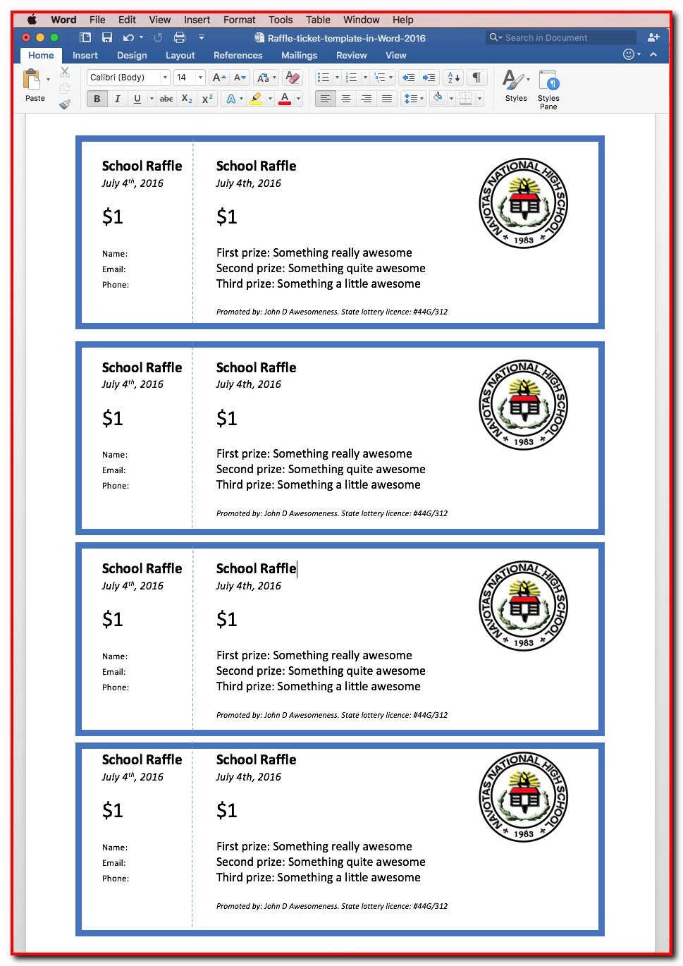 Raffle Ticket Template Pages
