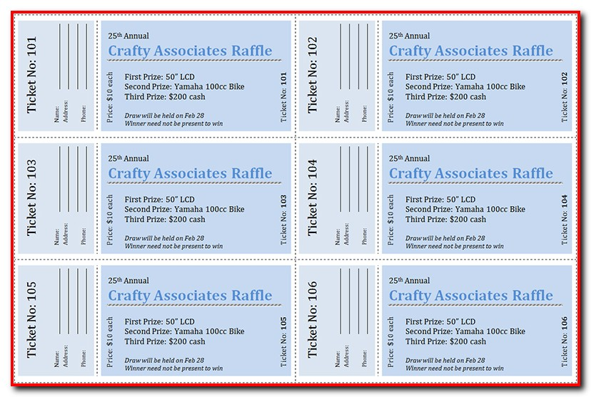 Raffle Ticket Template Publisher