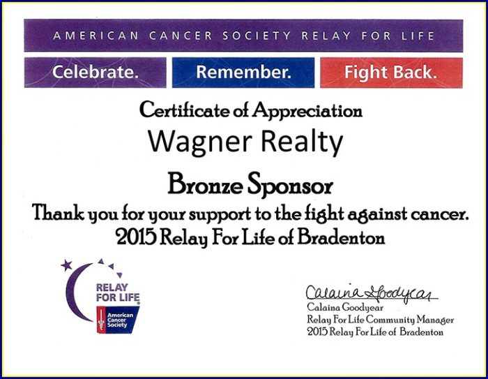 Relay For Life Certificate Of Appreciation Template