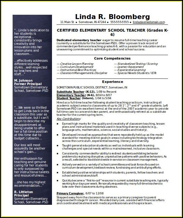 Resume Templates For Teachers Word