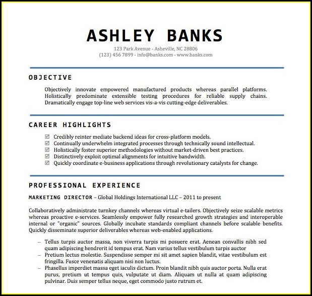 Resume Templates For Word 2011