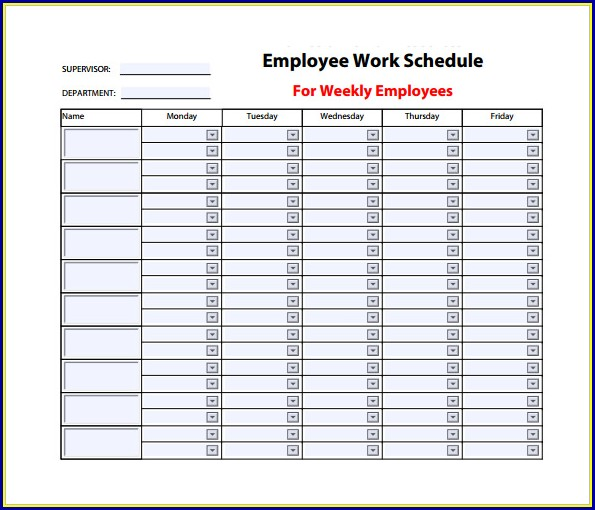 Weekly Work Schedule Template Pdf