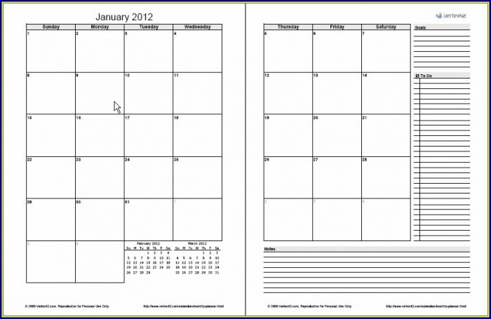 Work Plan Template Monthly