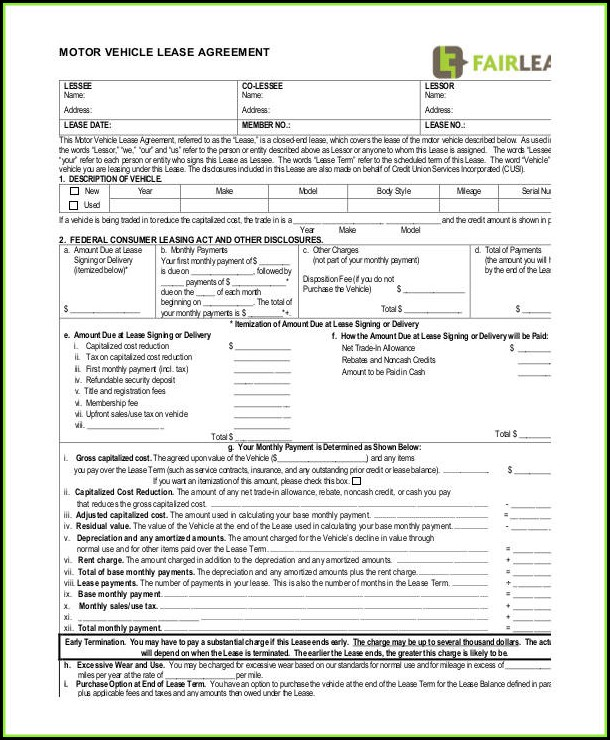 Commercial Vehicle Lease Agreement Template Word