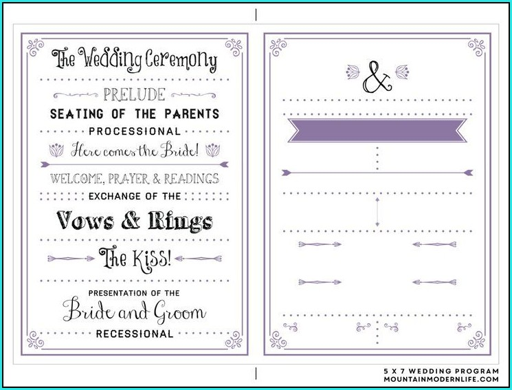 Free Diy Wedding Program Templates