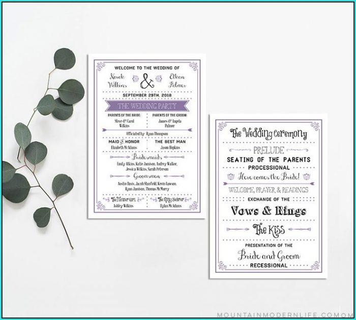 Free Modern Wedding Program Templates